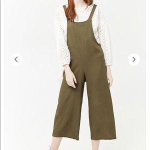 Forever21 Linen Olive Green Wide Leg Jumpsuit NWOT